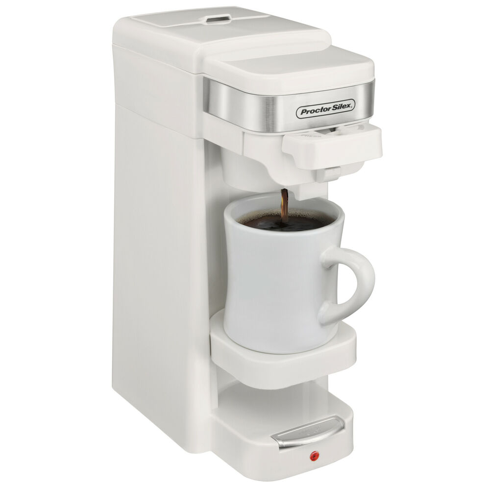 Proctor Silex Single Serve K-Cup Compatible Compact Coffee Maker, White 49978 eBay