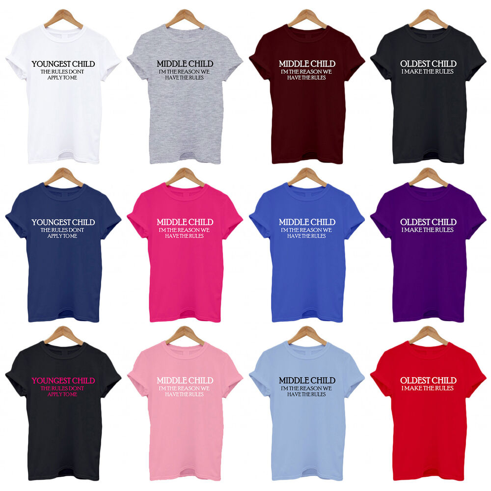 Sibling Rules T Shirts Youngest Middle Oldest Baby Kids