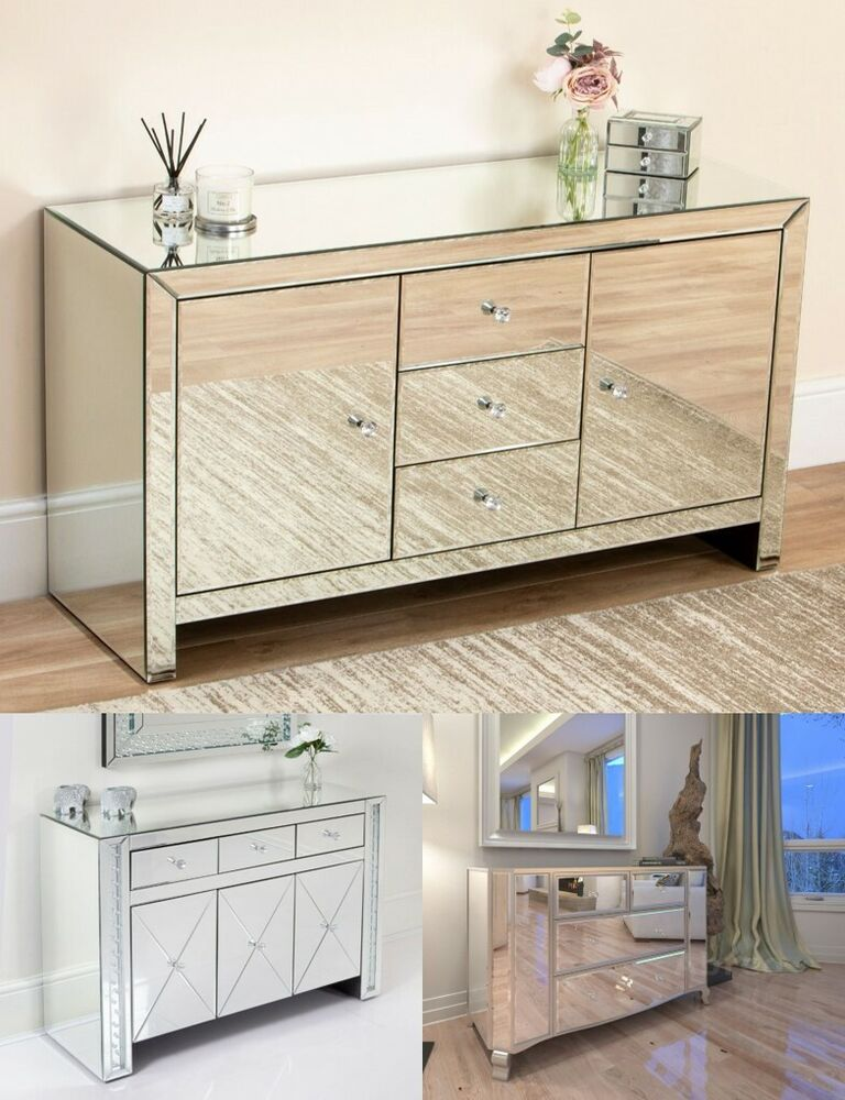 Mirrored 4 6 Drawer Chest Tallboy Console Silver Shabby