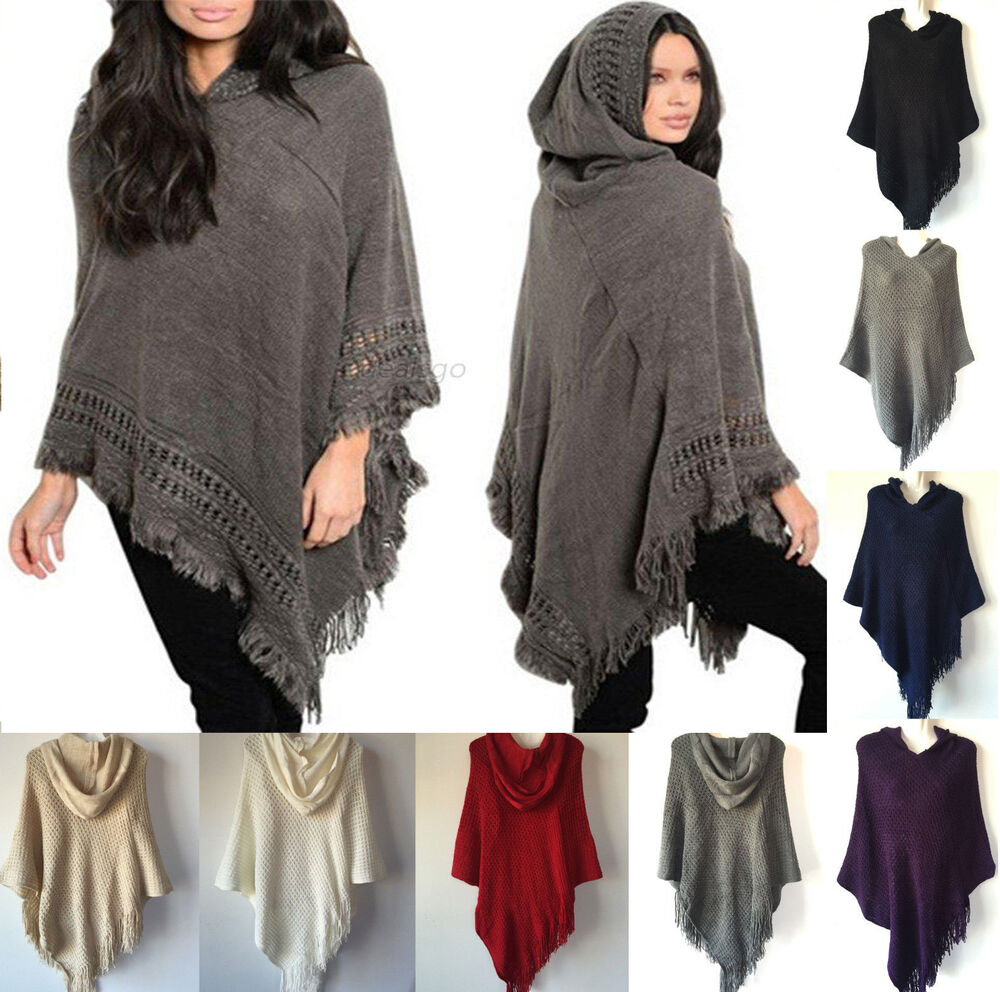 c7d84927d Details about New Women Knit Batwing Top Poncho With Hood Cape Cardigan  Coat Sweater Outwear
