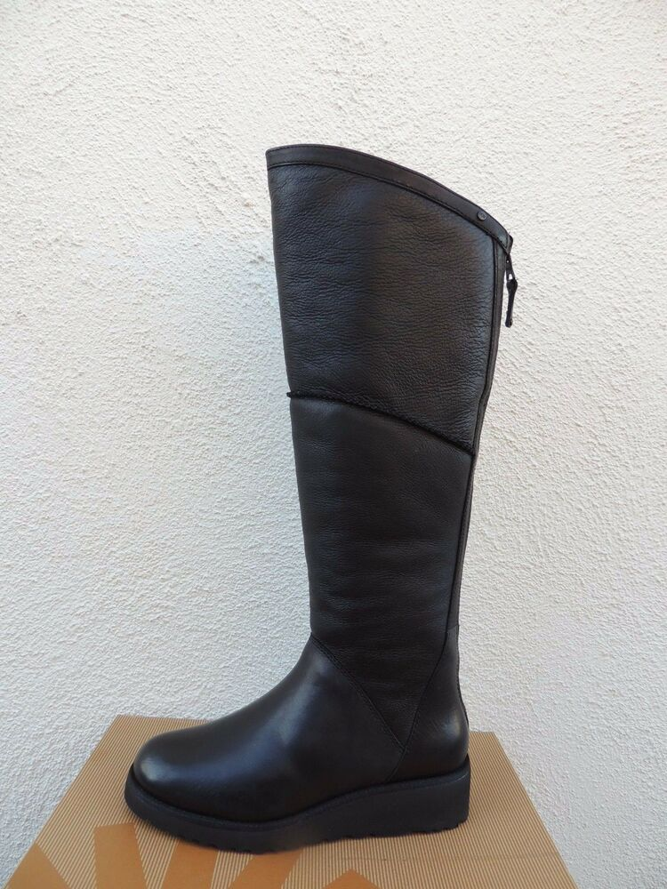 ugg kendi black leather sheepskin knee high wedge boots
