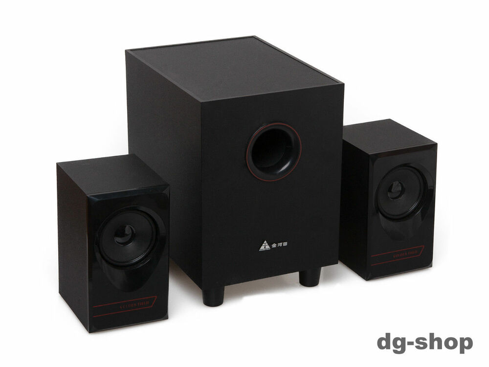 aktiv 2 1 pc lautsprecher system stereo boxen anlage set. Black Bedroom Furniture Sets. Home Design Ideas