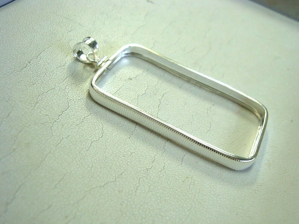 Screw Top Sterling Silver Bar Frame Bezel Pendant For One
