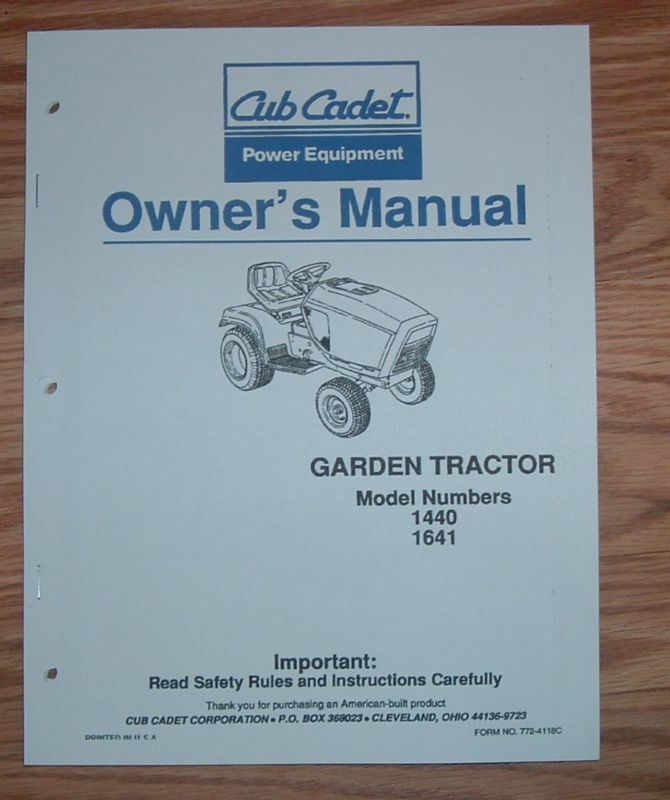 Cub Cadet Models 1641 Operators Manual