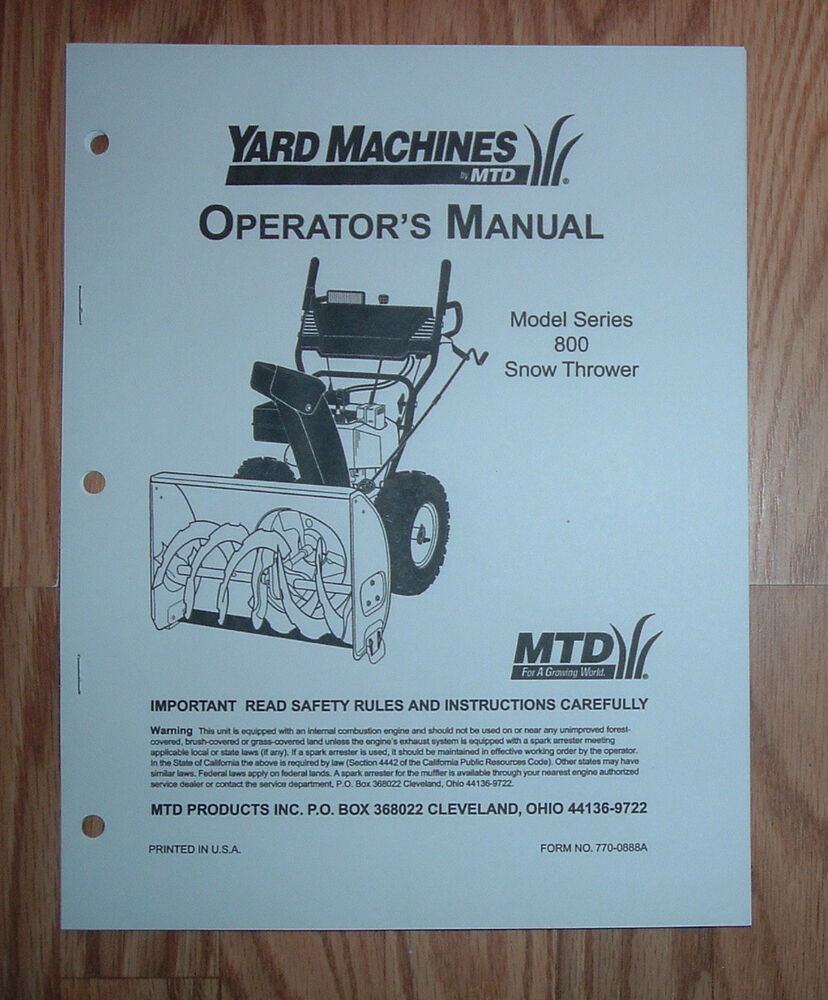 Yard Machines By Mtd 800 Series Snow Thrower Operators Manual With Parts List