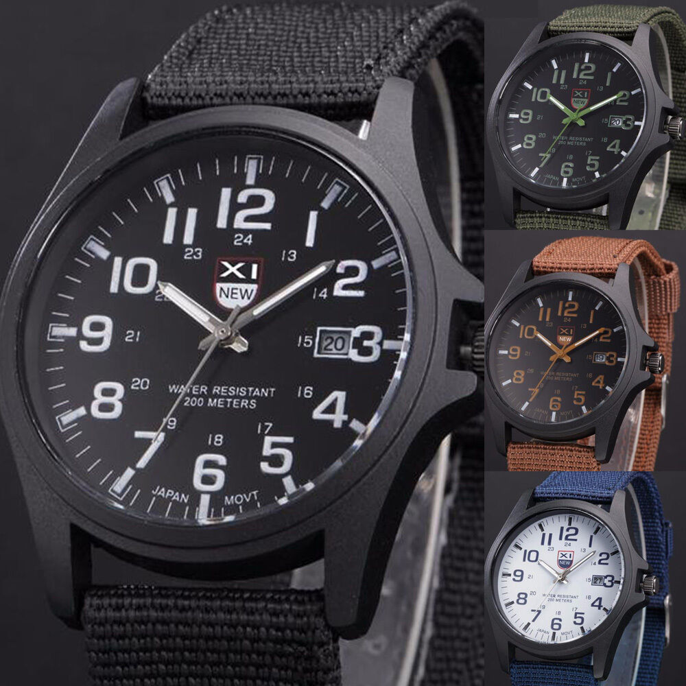 Military leather waterproof date watches army quartz men 39 s sports wrist watches ebay for Under water watches