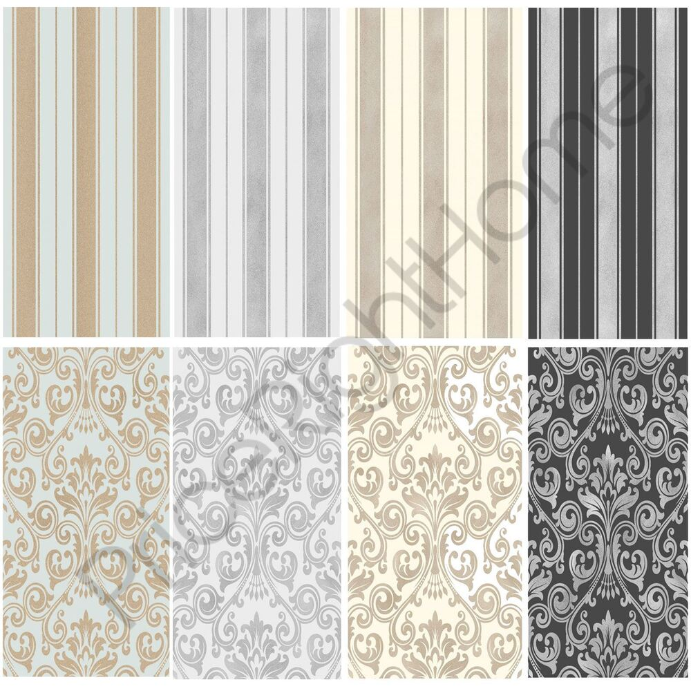 Fine decor wentworth wallpaper range stripes and damask for Black white damask wallpaper mural