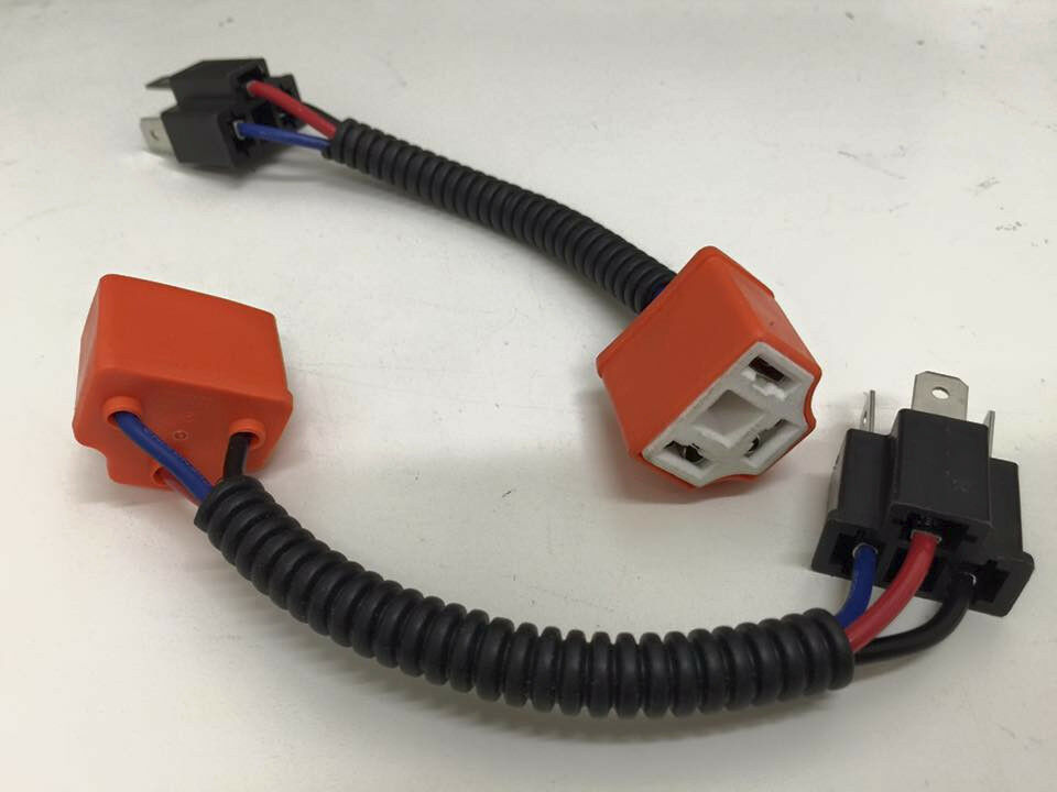 H4 9003 Ceramic Wire Harness Adpters Plug Cable Headlights