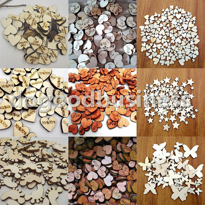 Crafts For Weddings Rustic: 50~200pcs Rustic Wooden Wood Love Heart Wedding Table