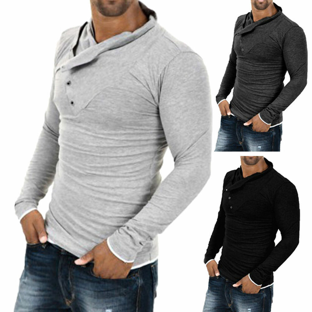 Men 39 s stylish tops slim fit casual fashion t shirts polo for Long sleeve fitted polo shirts