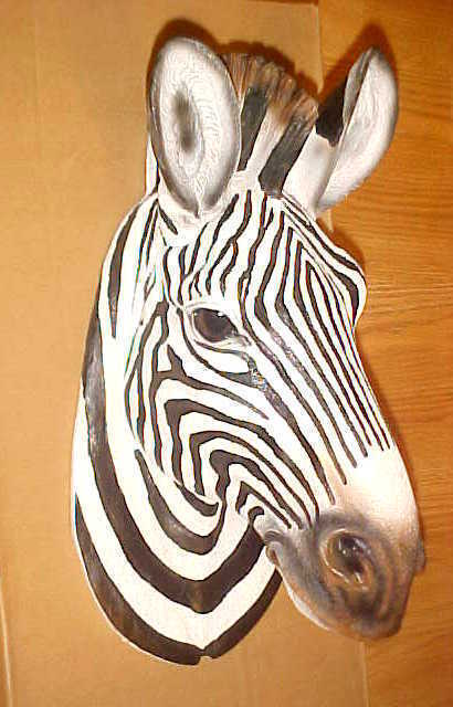"9"" ZEBRA Head Wall Hanging Mount Wildlife Safari African"