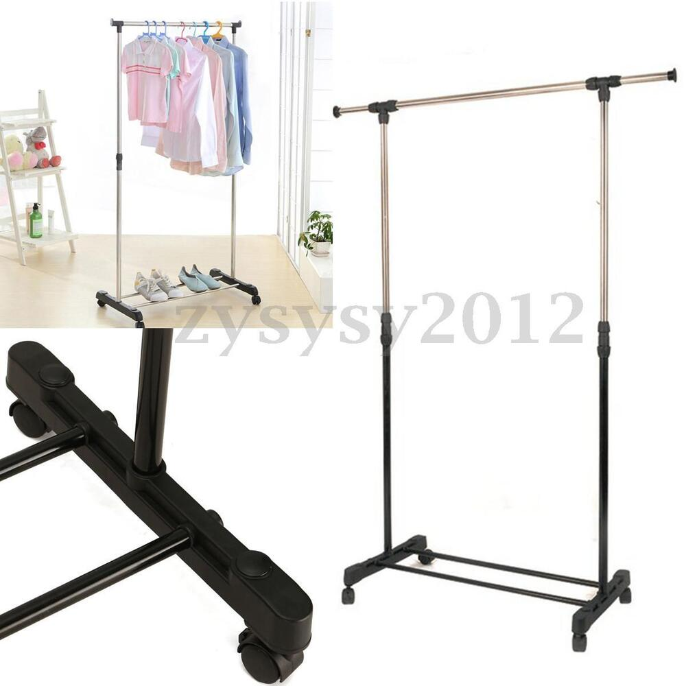 hanging clothes rack adjustable mobile clothes coat garment hanging rail rack 10440