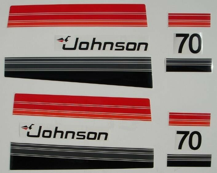 Johnson Outboard Hood Decals 3 Cyl 70 Hp