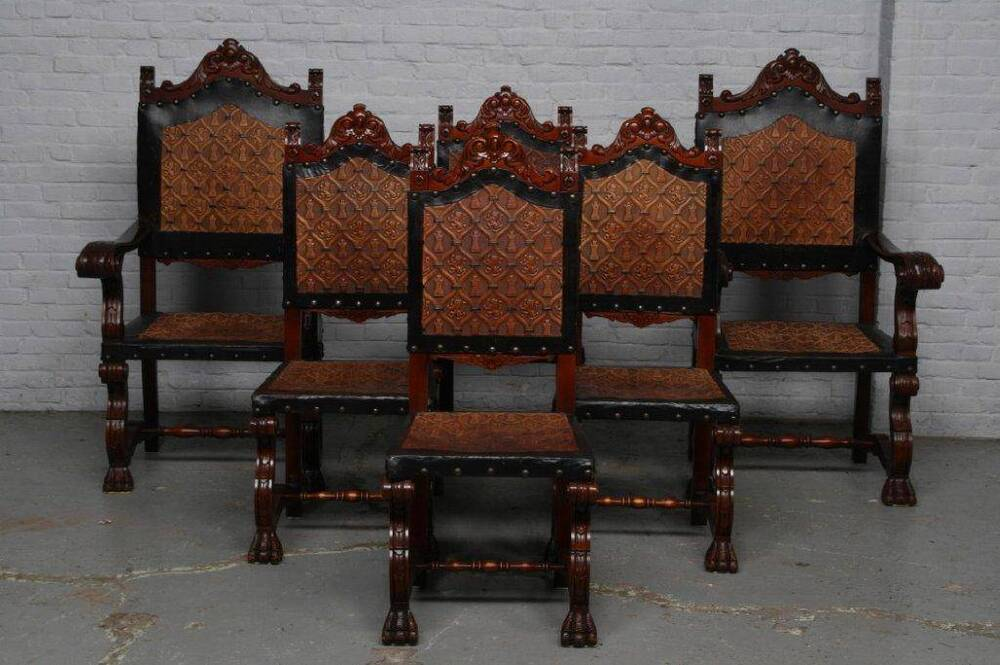 Very Nice Spanish Dining Room Set Of 6 Chairs 14be5292c