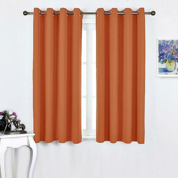 Details About Microfiber Home Thermal Insulated Solid Ring Top Blackout Curtains 2 Set Orange