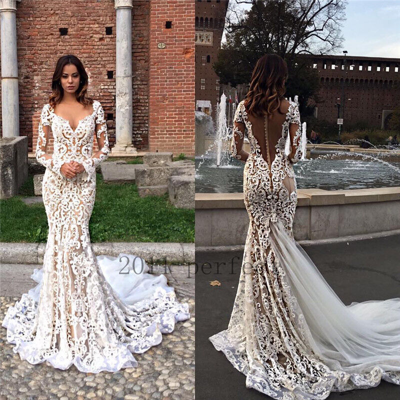 Mermaid Lace Wedding Gown: Sexy Mermaid Wedding Dress Lace Sheer Backless V Neck Long