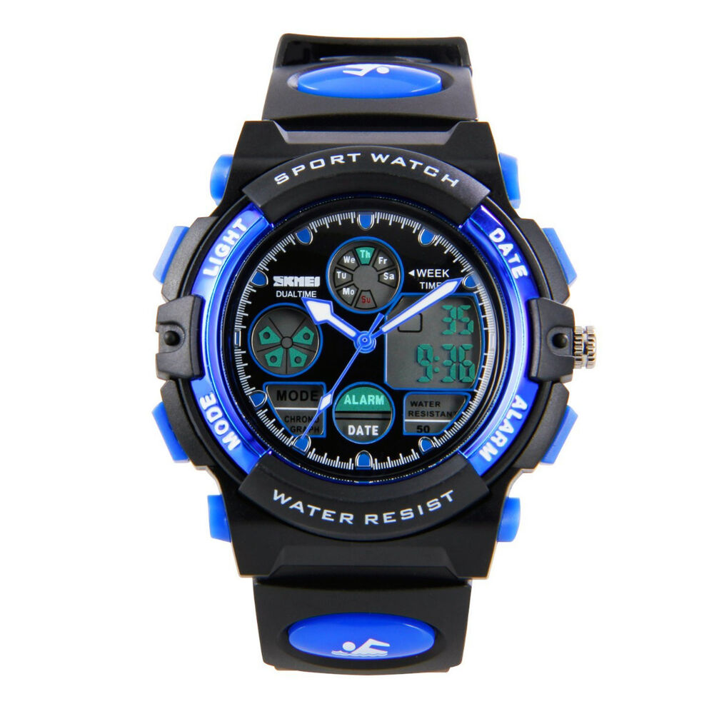 Fashion Kids Boys Digital Watches LED Waterproof Sports ...