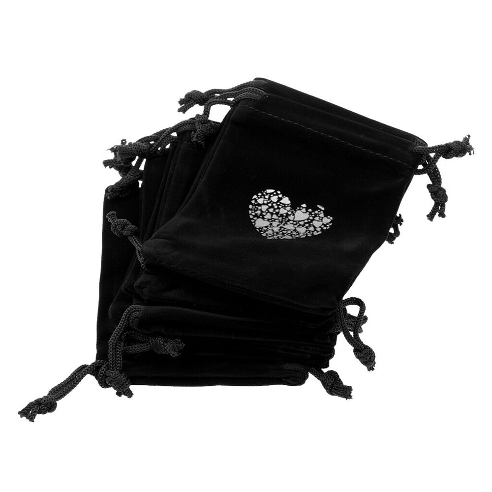Wedding Gift Pouches: 10pcs Love Heart Velvet Drawstring Pouches Jewelry Bags