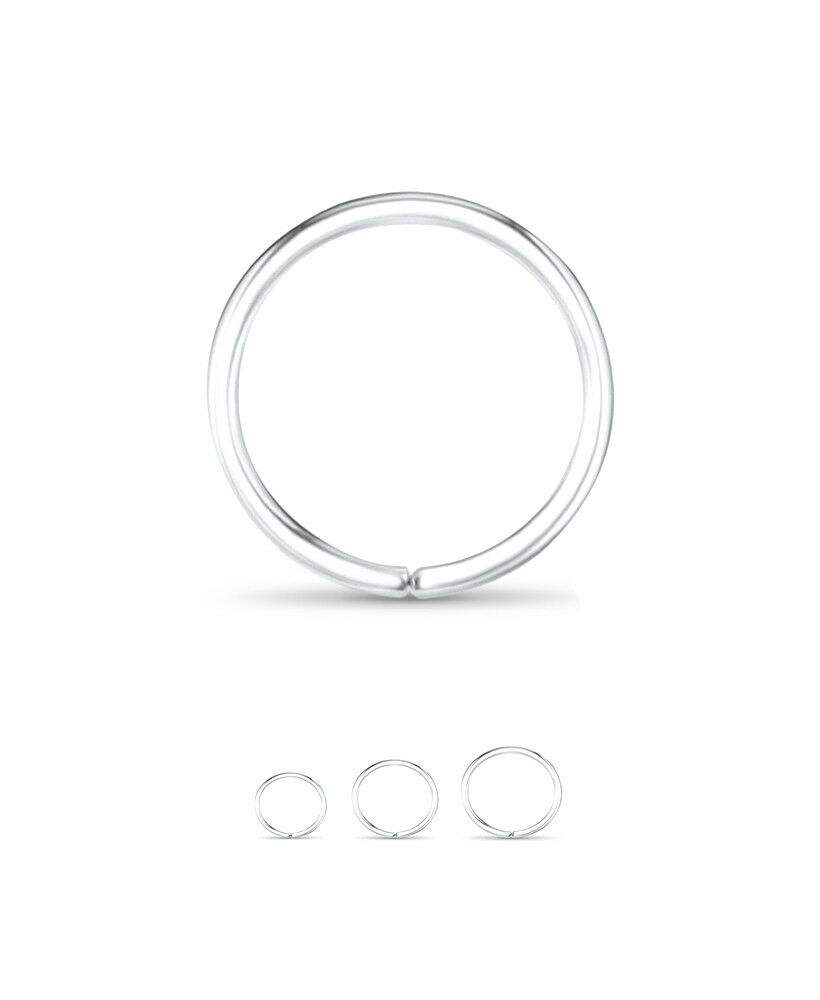 14k white gold seamless continuous hoop nose ring 3 8 quot 5