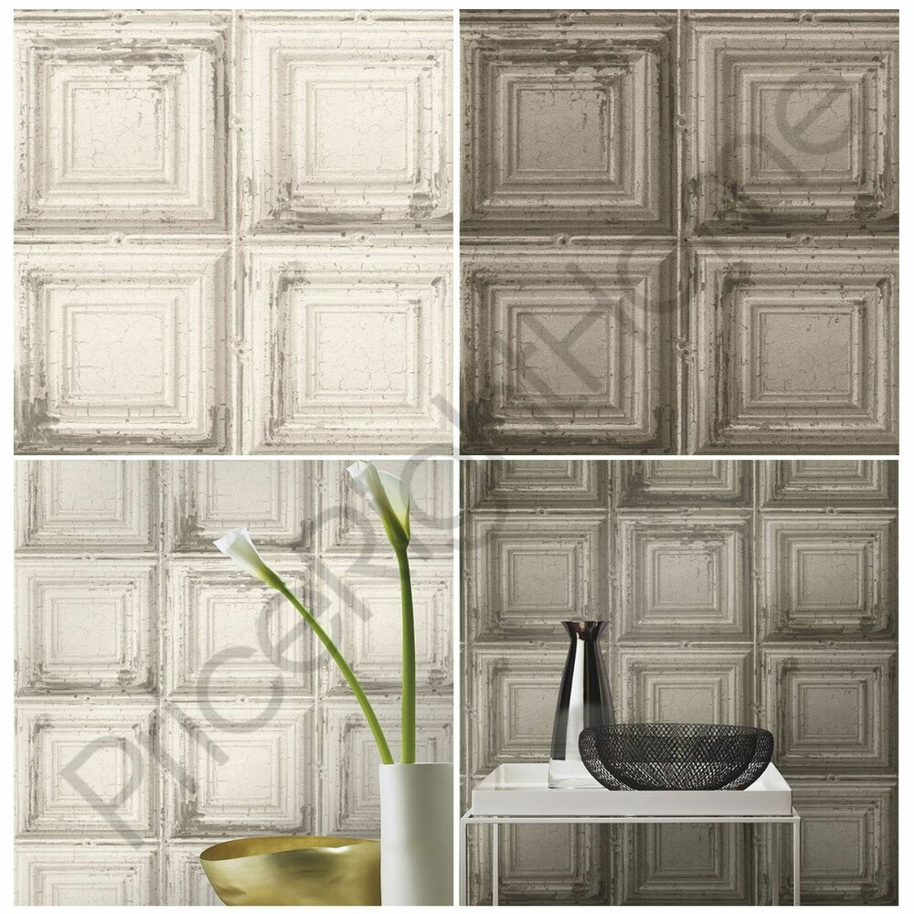 RASCH DISTRESSED WOOD PANEL WALLPAPER GREY / WHITE