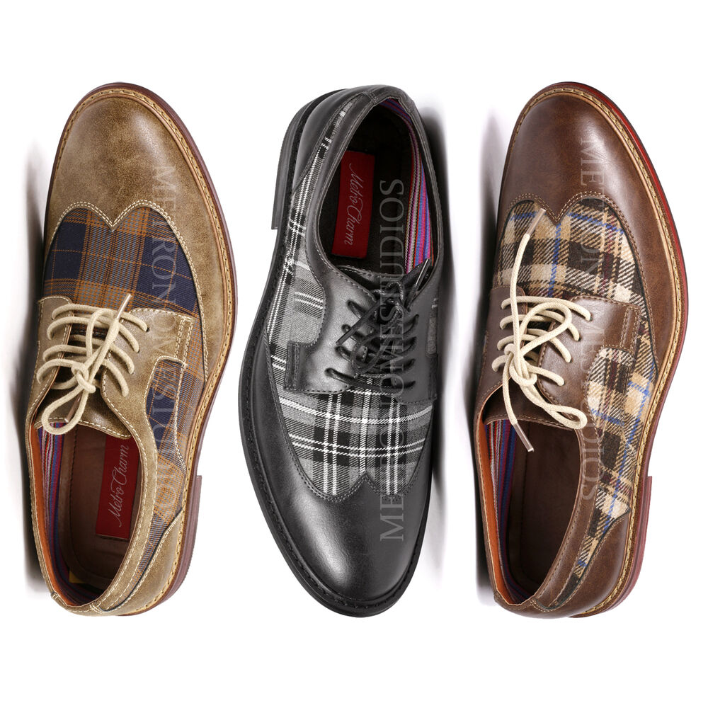 metrocharm s plaid lace up wing tip classic oxford