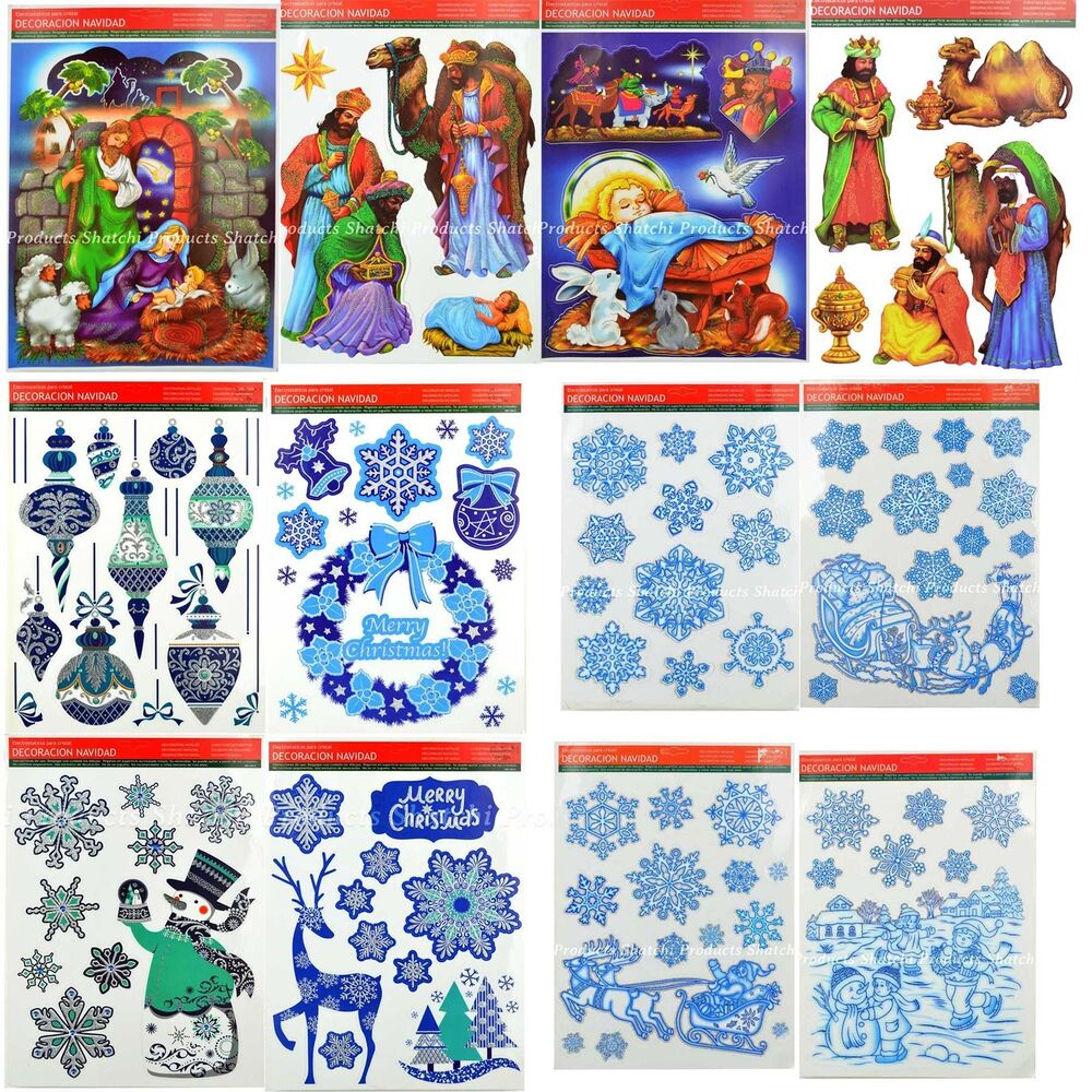 Christmas Window Stickers Snowflakes Decorations Xmas Home
