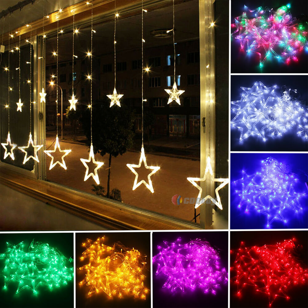 168 LED 2M Star Curtain Lights String Fairy Lamps Christmas Tree Party Outdoor eBay