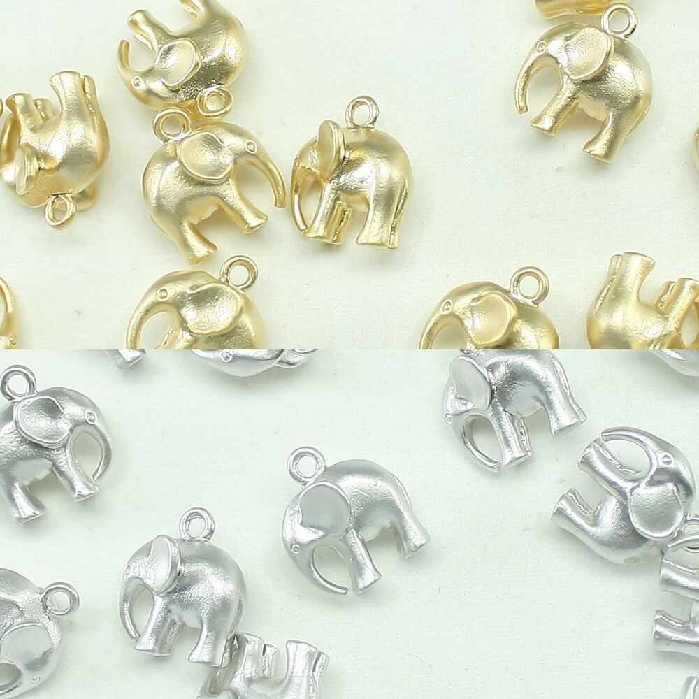 Silver Beads: Elephant Metal Beads Pendants Gold Silver Beads For