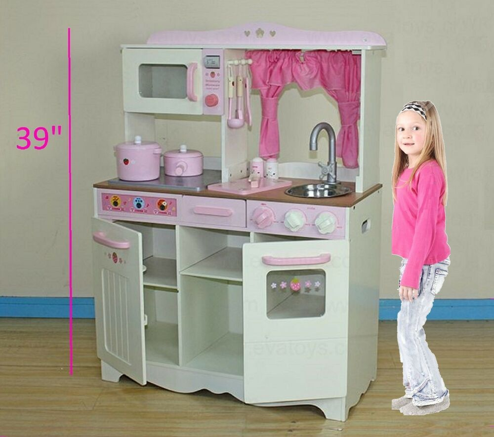 Large 39 In Kids Toy Wooden Kitchen Toy Cooking Solid Wood