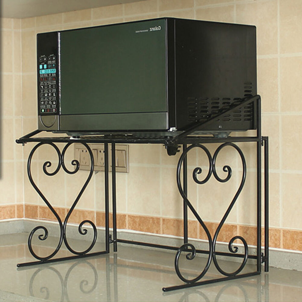 2 Tier Kitchen Storage Cart Microwave Oven Rack Utility