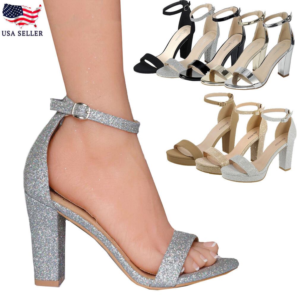 New Womenu0026#39;s Ankle Strap Chunky Pump High Heel Sandals Party Dress Open Toe Shoes | EBay