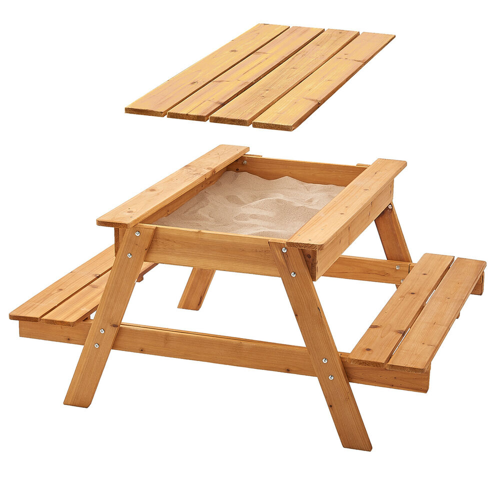 Details About Wooden Sandpit Picnic Table Large Enough For Up To 4 Children With Rain Cover