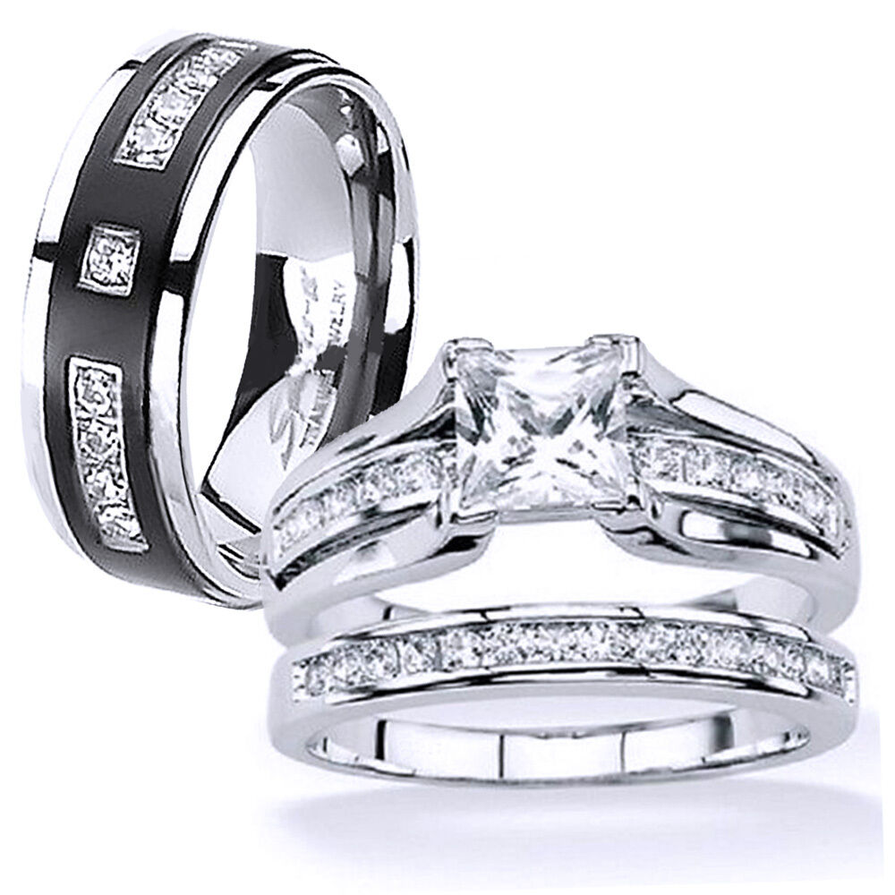 His and hers stainless steel princess cut wedding ring set for Wedding bands and engagement ring sets