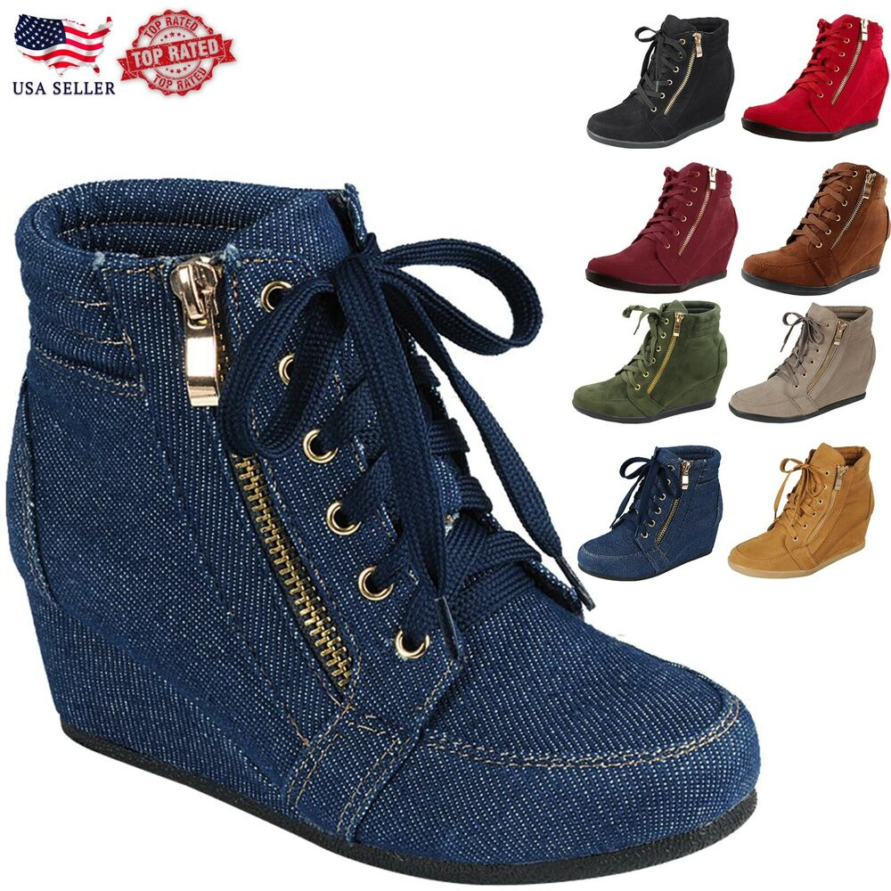 fpeggNew Glitter Sneakers Women's High Top Lace Up Wedge ...