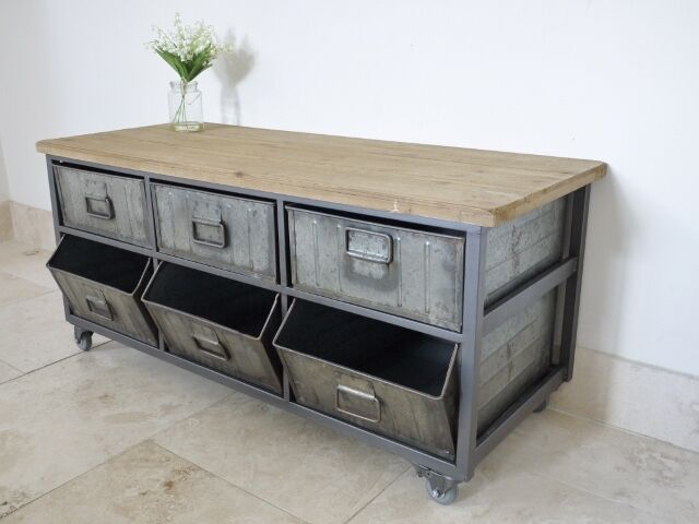 industrial style metal wood storage cabinet on wheels ebay. Black Bedroom Furniture Sets. Home Design Ideas