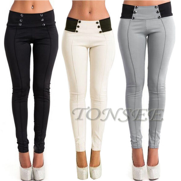 Fashion Women High Waist Skinny Stretch Pencil Pants Long Slim Trousers Leggings
