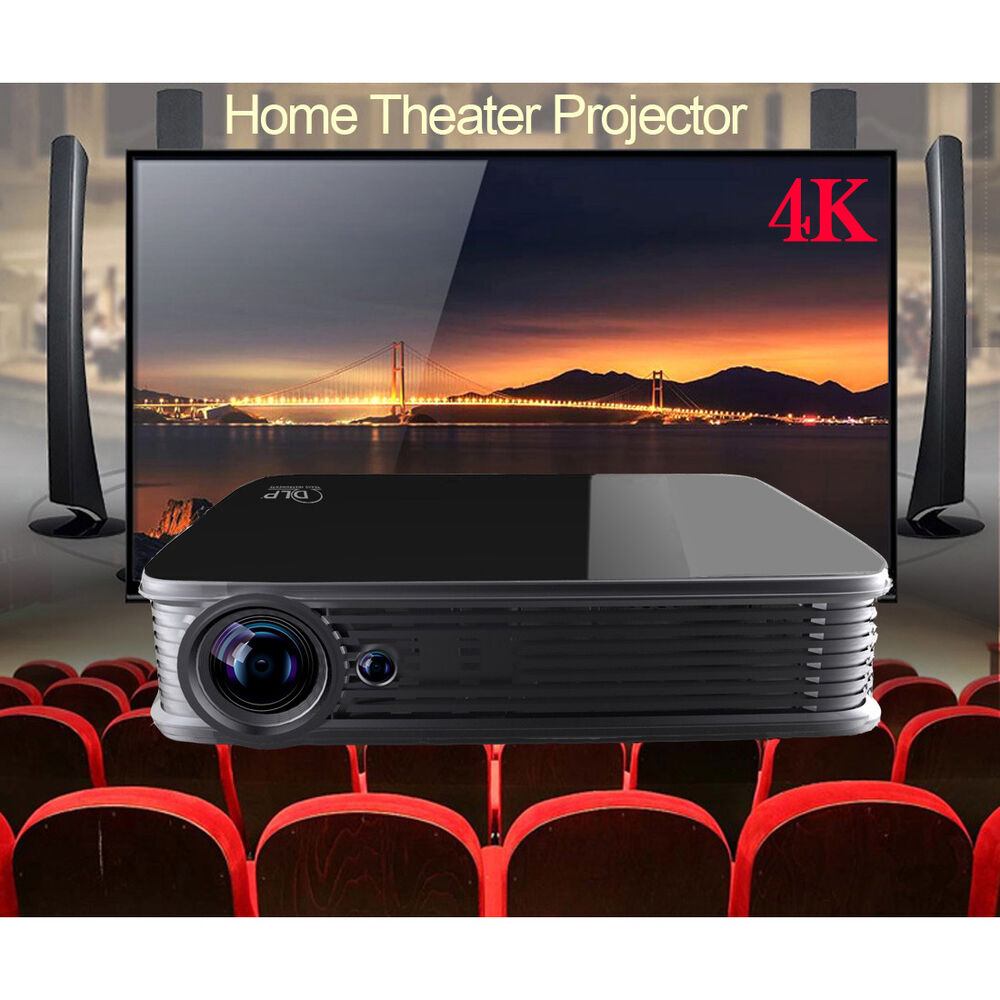 Android5.1 DLP 1080P Home Theater UHD 4K 3D Projector HDMI