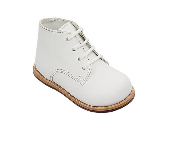 Josmo Walker White Leather Hard Bottom Walkers Lace Up