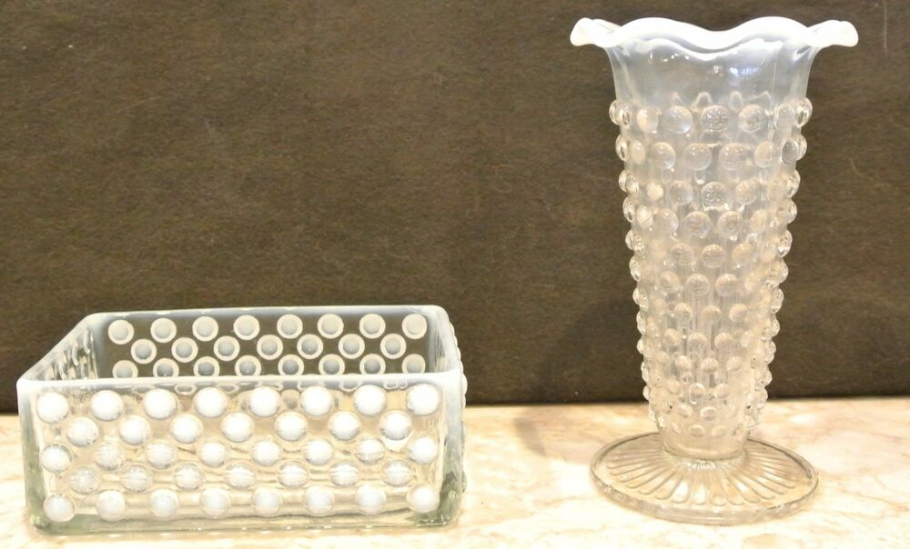 White Opalescent Glass : Clear white opalescent fenton glass hobnail soap dish