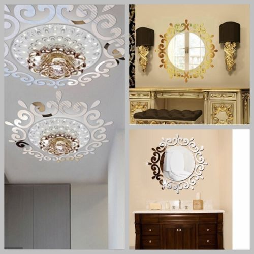 Removable 3D Round Mirror Wall Sticker Decor Decal Art ...