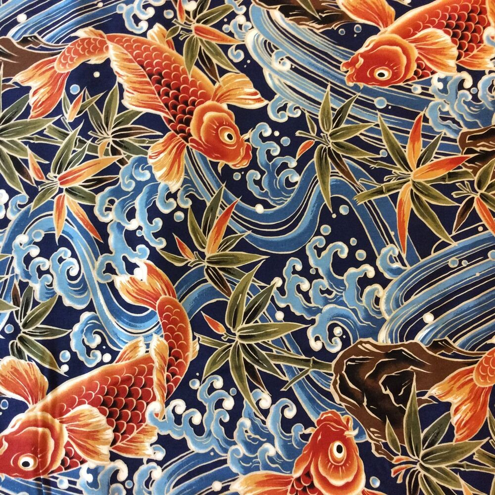Tp016 asian chinese japanese bird crane koi fish ocean for Koi pond quilt pattern