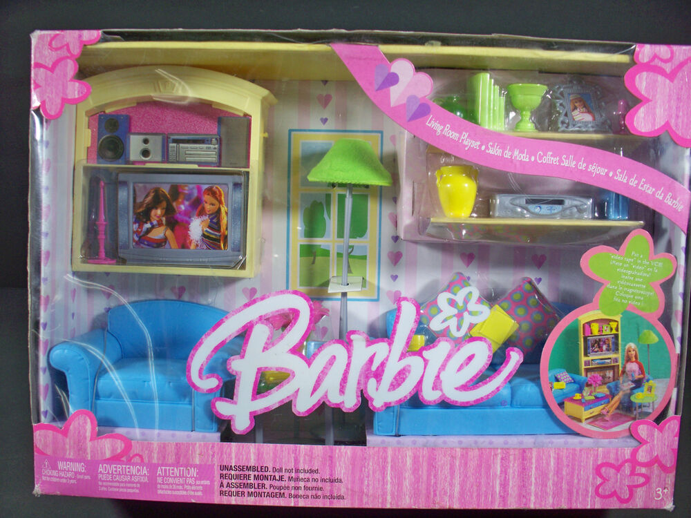 Nib Barbie Doll Furniture 2004 Living Room Playset Couch
