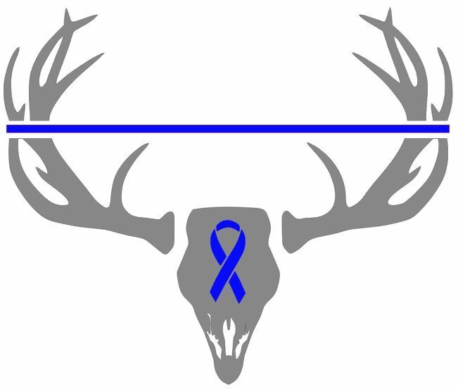 Deer Hunting Antler Truck Window Decal Sticker Thin Blue