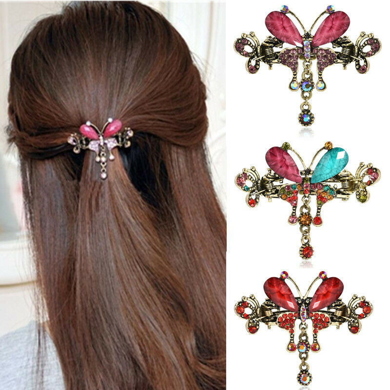 Women Plastic Rhinestone DIY Hair Style Comb Clip Slide Hair clip 2pc See Details Product - 4pcs Crystal Metal Jaw Claw Hair Clip Small Butterfly Design Barrettes for Women .