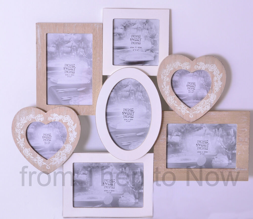chic shabby large 7 multi collage wooden photo picture frame cream natural heart ebay. Black Bedroom Furniture Sets. Home Design Ideas