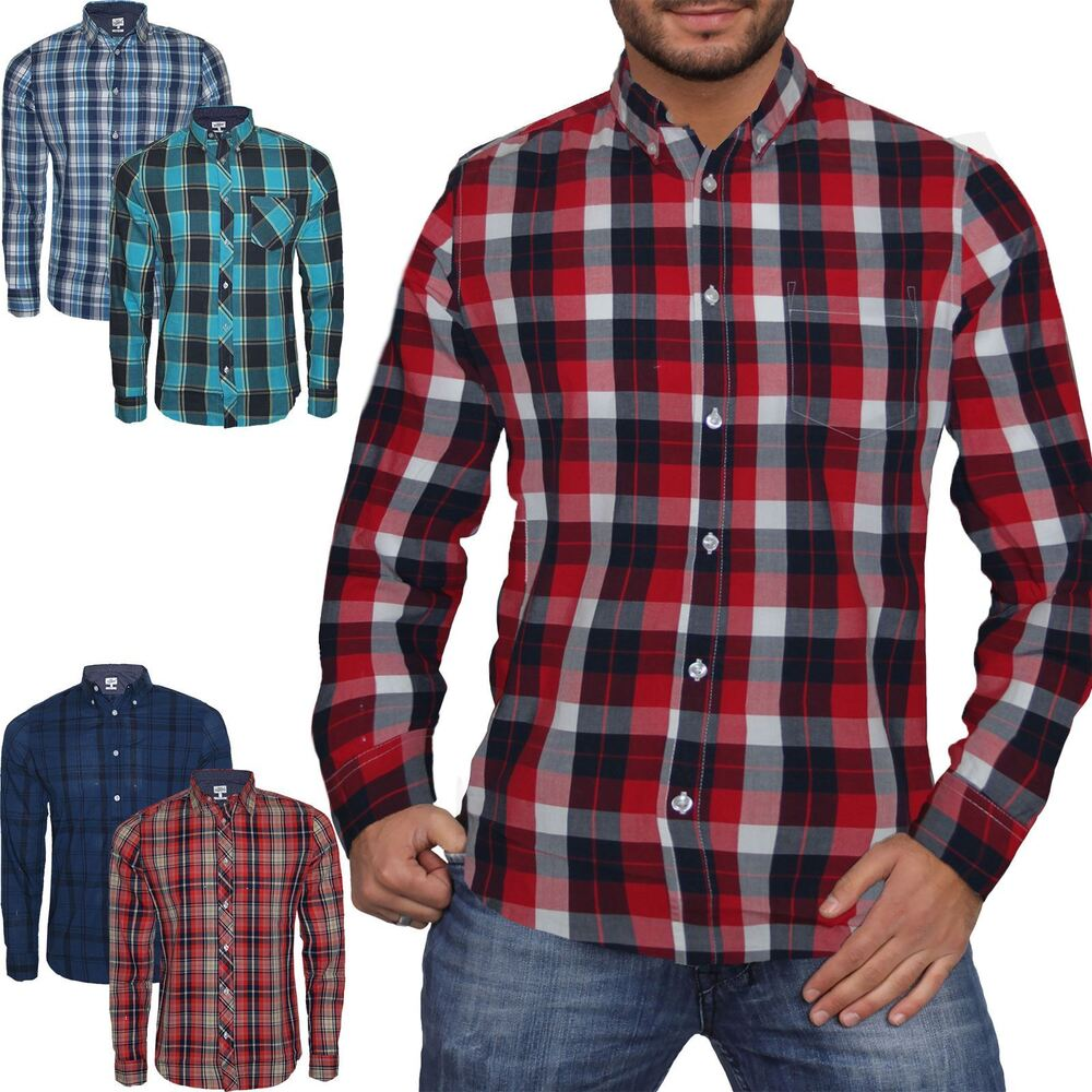 Mens next check print long sleeve casual smart work for Mens xl flannel shirts