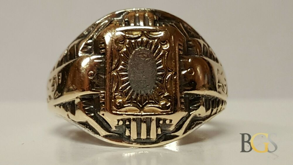 Antique 10K Yellow Gold & Sterling Silver High School Class Ring Size 6