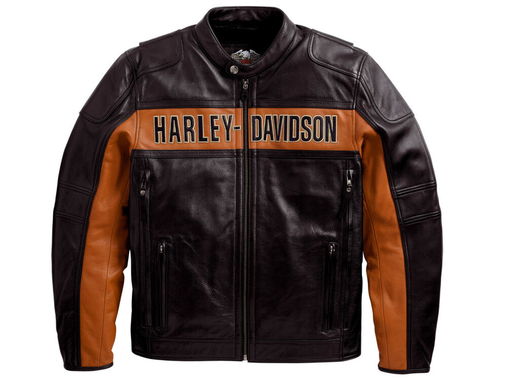 Harley Davidson Mens Black Orange Classic Riding Leather ...