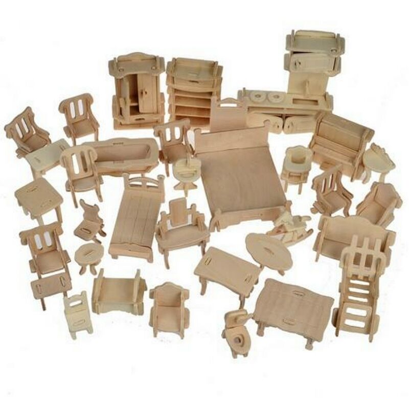 1set 34pcs diy wooden doll house dollhouse furniture 3d simulation miniature set ebay Dollhouse wooden furniture
