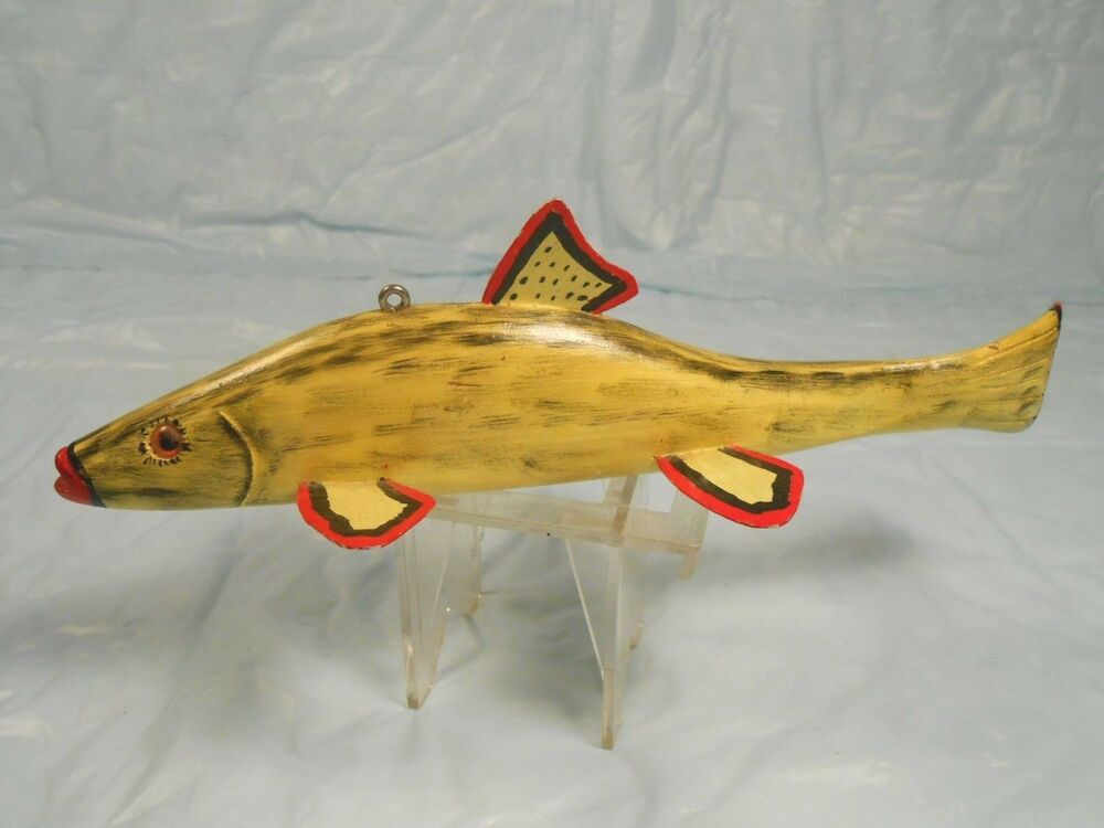 Ice fishing decoy or great folk art w lot of color for Ebay ice fishing